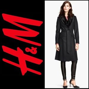 H&M Black Wool Blend Faux Fur Collar Longline Long Trench Jacket Coat